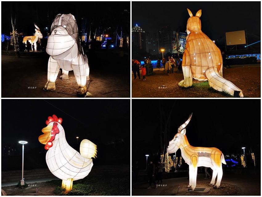 20200213224047 26 - 台中燈會|2020台灣燈會在台中,副展區文心森林公園戽斗星球動物晚上也好拍,還有人造雪喔!